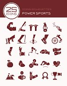 Icons silhouettes power sports