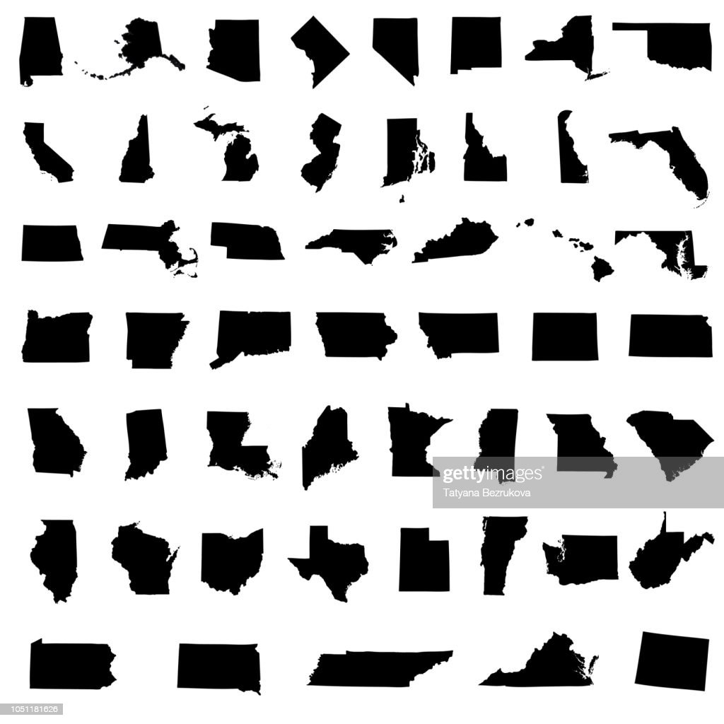 Icons States map. America states map icons on a white background