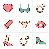 Icons Style Sex And XXX Icons Set, Vector Design