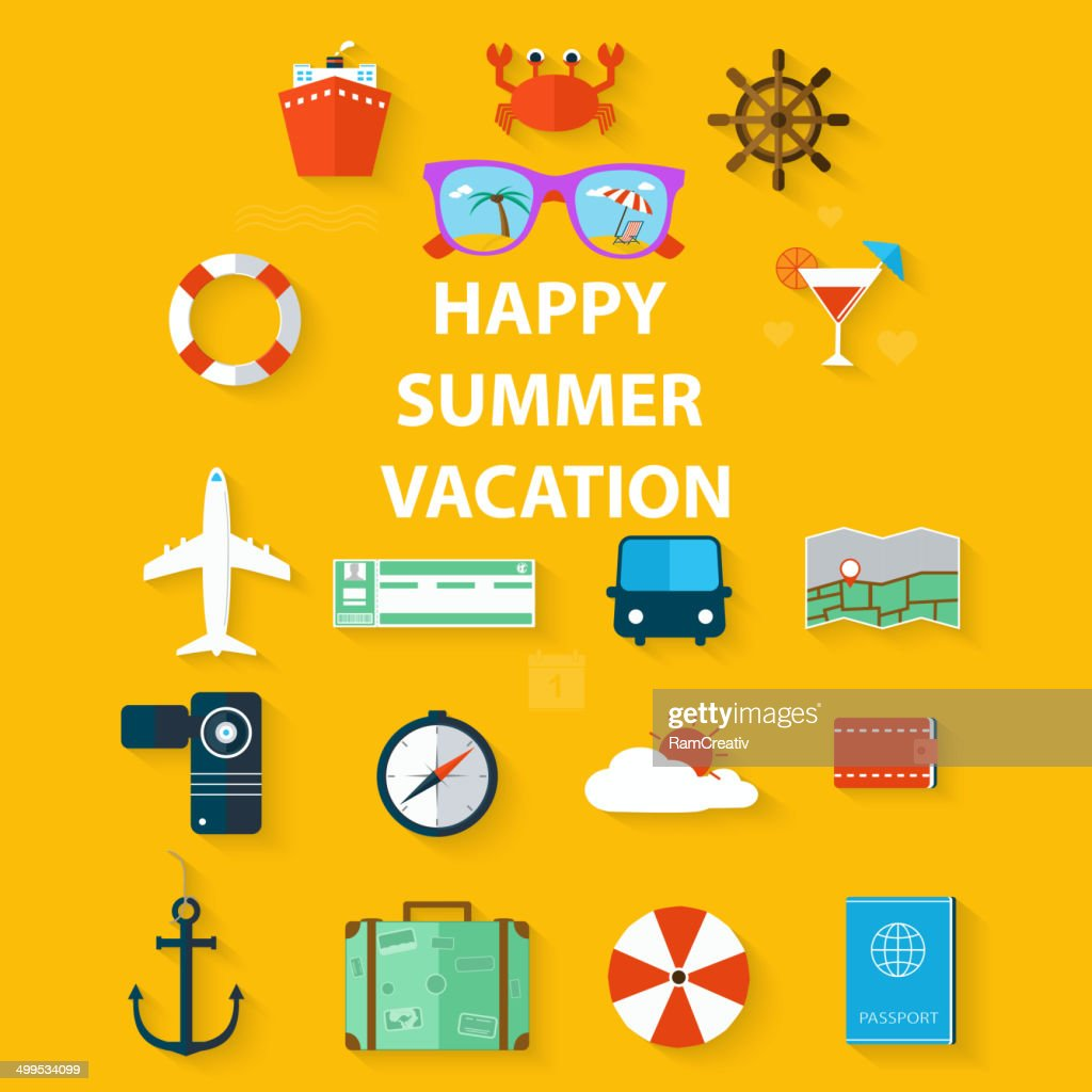 Icons summer vacation in a flat style on yellow background