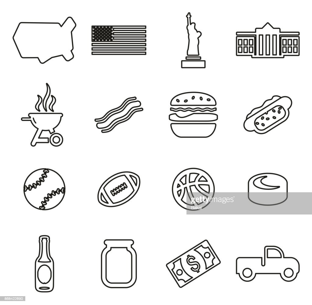USA Icons Thin Line Vector Illustration Set