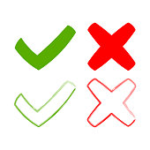 icons tick and cross, signs green checkmark ok, and red x icons
