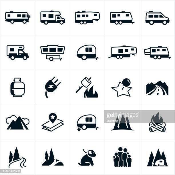 illustrations, cliparts, dessins animés et icônes de icônes rv - camping car