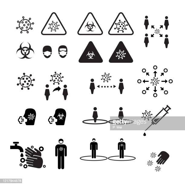 covid icons - disease vector stock illustrations