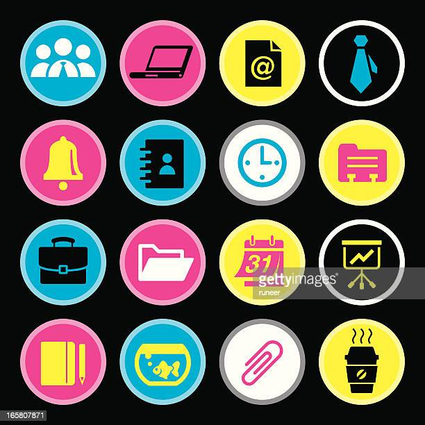 cmyk icons (office & business) - rolodex stock illustrations, clip art, cartoons, & icons