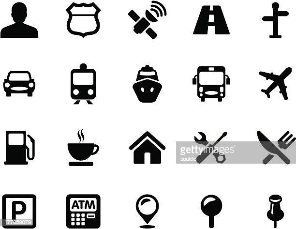 gps icons - parking sign stock illustrations