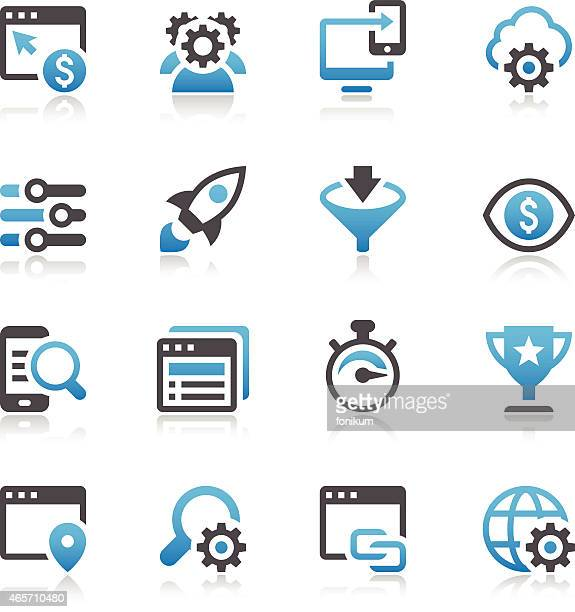 seo icons - online advertising stock illustrations, clip art, cartoons, & icons