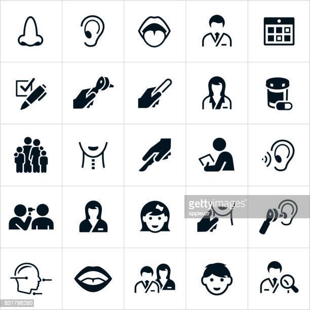 ilustrações, clipart, desenhos animados e ícones de ícones de ent - nariz