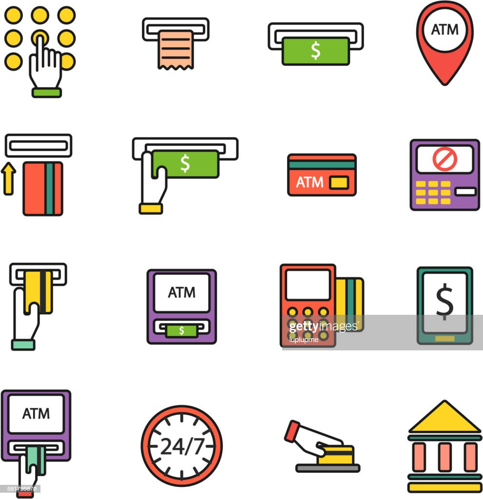 ATM icons vector set.