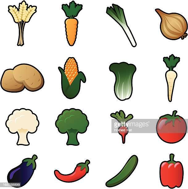 icons - vegetables - cauliflower stock illustrations, clip art, cartoons, & icons