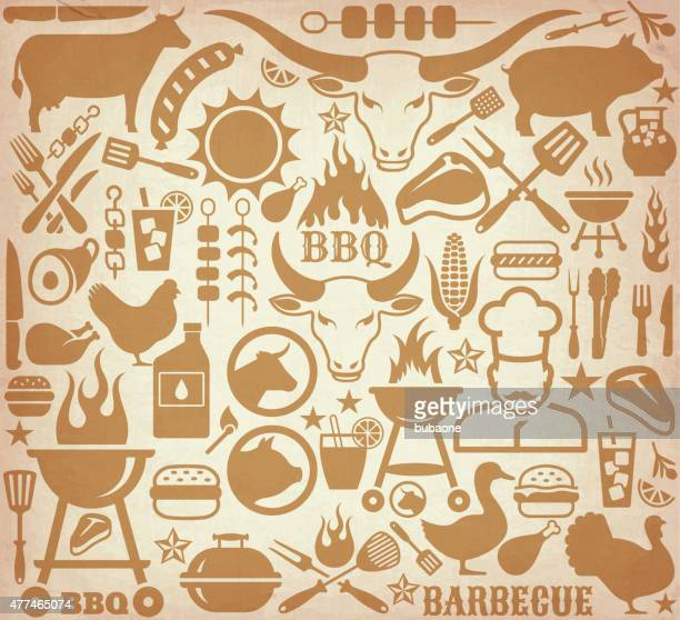 Icons with barbecue symbols on brown paper background.