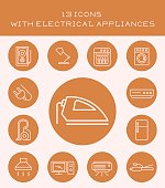 13 icons with electrical appliances.