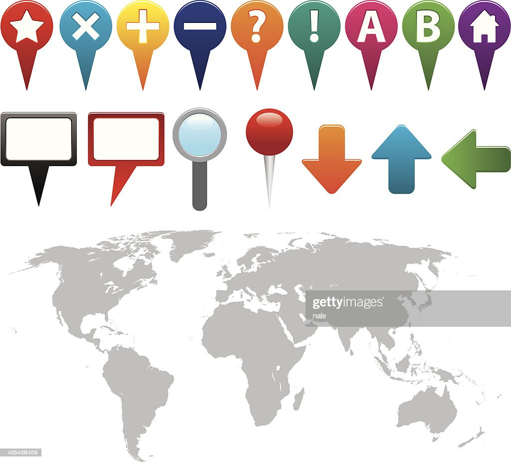 Gps icons with world map vector art getty images gps icons with world map vector art gumiabroncs Images