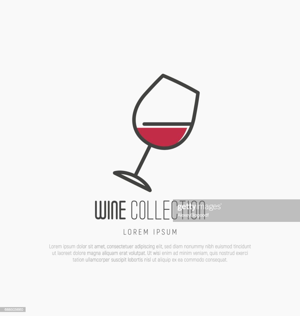 icontype of wine and wine making. Modern thin line icons, flat style design.