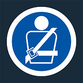 PPE Icon.Wearing a seat belt Symbol Sign On black Background,Vector llustration