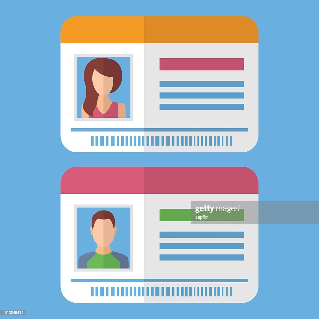 Id cards template with man and woman photo
