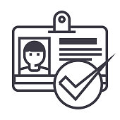 id, pass,permit vector line icon, sign, illustration on background, editable strokes