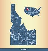 Idaho county map outline vector illustration in creative design