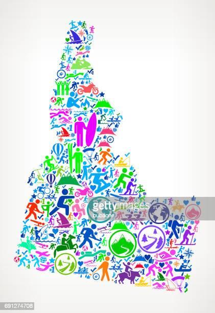 idaho spaß abenteuerreisen vector icons hintergrund - piktogramm collage stock-grafiken, -clipart, -cartoons und -symbole