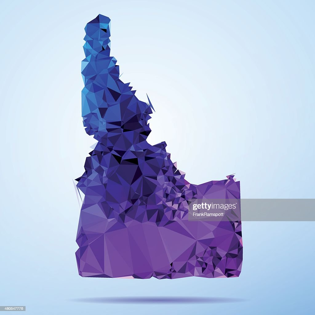 Idaho Polygon Triangle Map Blue : Vector Art