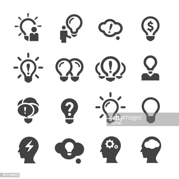 idea and inspiration icons - acme series - lighting equipment stock illustrations, clip art, cartoons, & icons