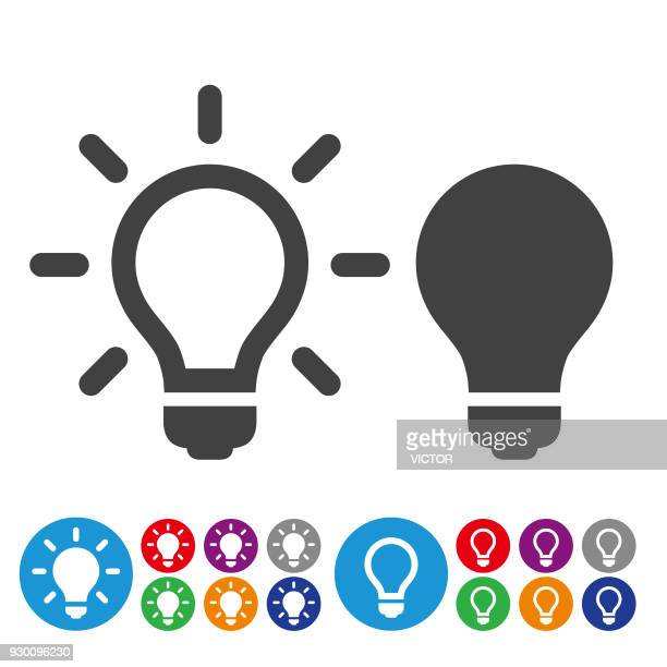idea and inspiration icons - graphic icon series - lighting equipment stock illustrations, clip art, cartoons, & icons