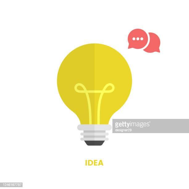 idea bulb, speech bubble talking and quick tips icon flat design. - stunt stock illustrations