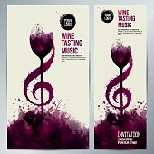 Idea concept wine and music. Colors and wine stains.