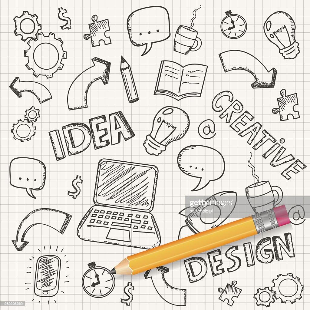Idea concept with pencil and doodle sketches. Business doodles set.