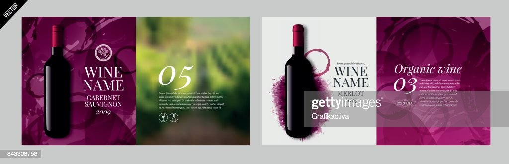 Idea design for catalog, magazine or presentation for wine bottles.