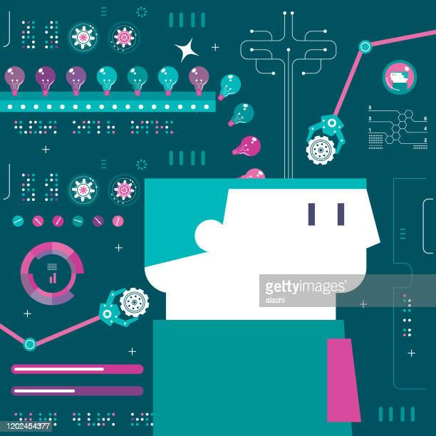 idea factory to increase creativity in your brain - deep learning stock illustrations