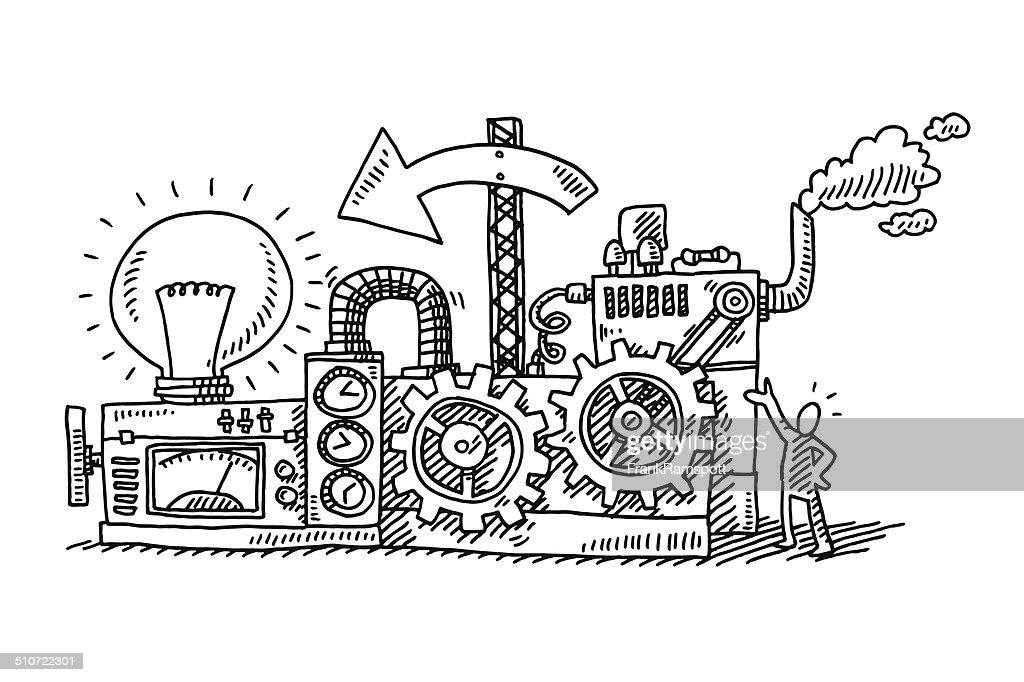 Idea Generator Machine Drawing Vector Art | Getty Images