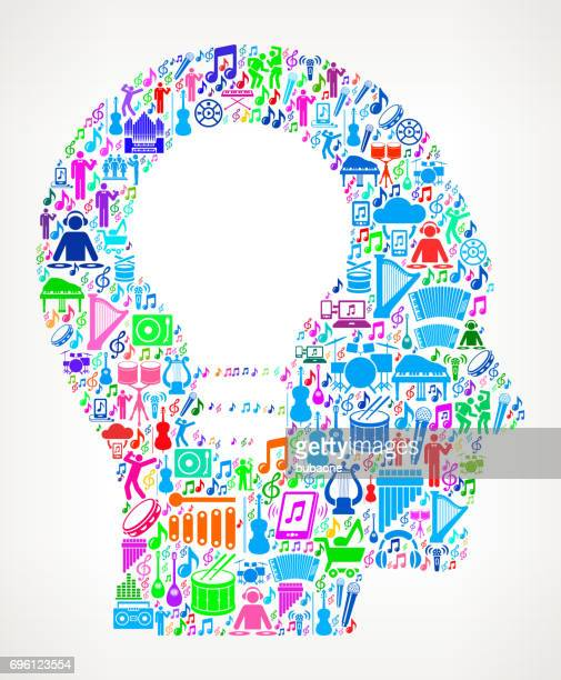 ilustrações, clipart, desenhos animados e ícones de música de cabeça de ideia e fundo do ícone de celebração musical vector - composição