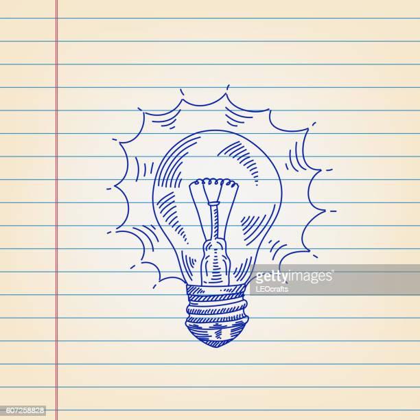 Idea light bulb drawing on ruled paper