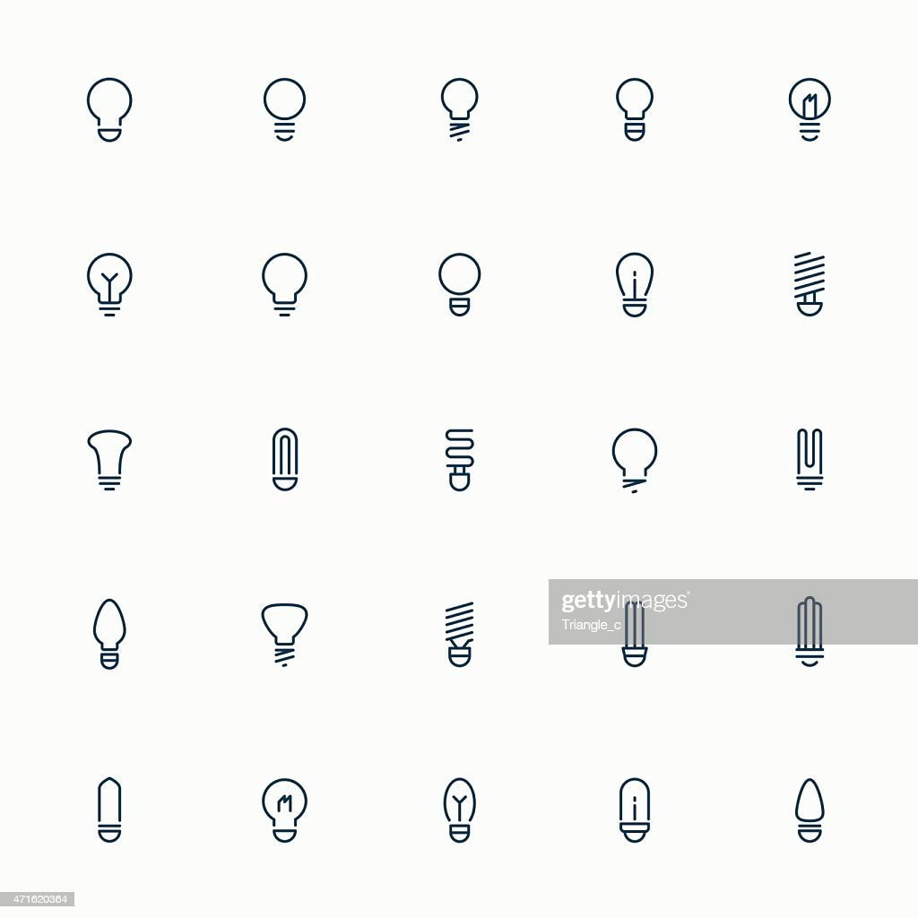 25 idea light bulb minimal line icons