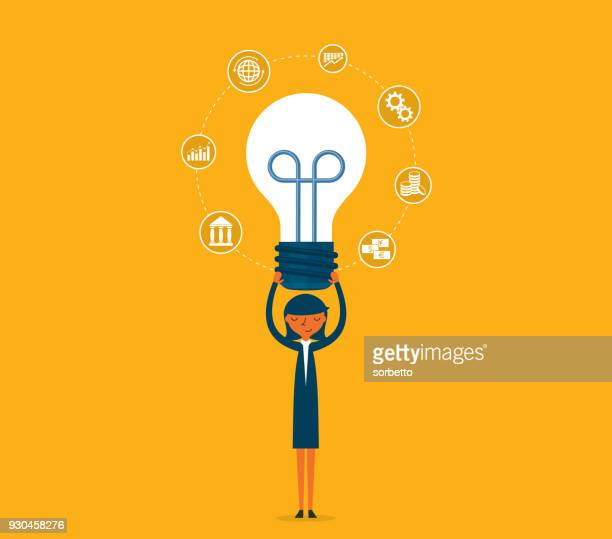 idea - lightbulb - businesswoman - learning stock illustrations