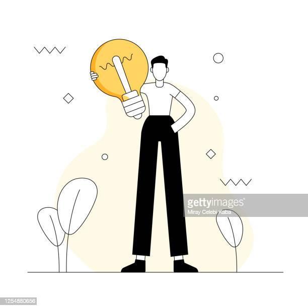 ilustraciones, imágenes clip art, dibujos animados e iconos de stock de ilustración vectorial relacionada con ideas. diseño moderno plano - tableta gráfica