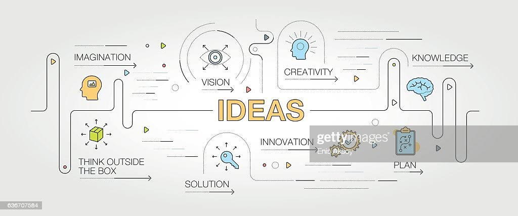 Ideas banner and icons : stock illustration