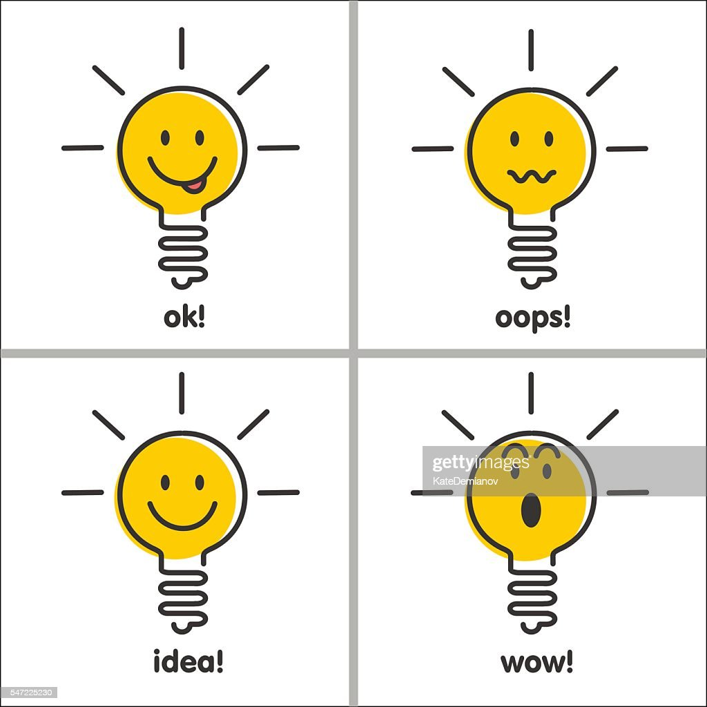 Ideas, emotions. Light bulb smiley face, set of vector icons.