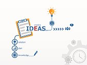 Ideas - innovation concept and notebook for efficiency, creativi