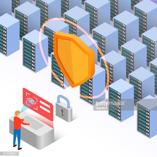 identification and security of big server data - eye scanner stock illustrations