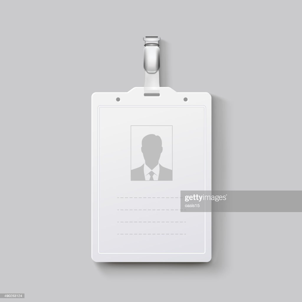 Identification badge with clasp. Vector illustration