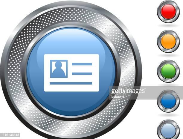identification card royalty free vector art on metallic button