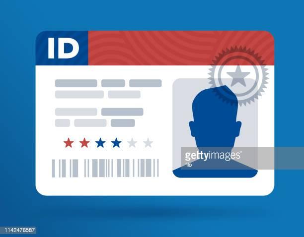 illustrations, cliparts, dessins animés et icônes de carte d'identité d'identification - permis de conduire