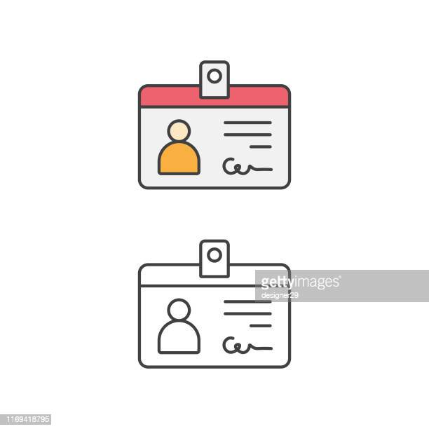 identity card, car driver, driving license, line icon and flat design. - employee stock illustrations