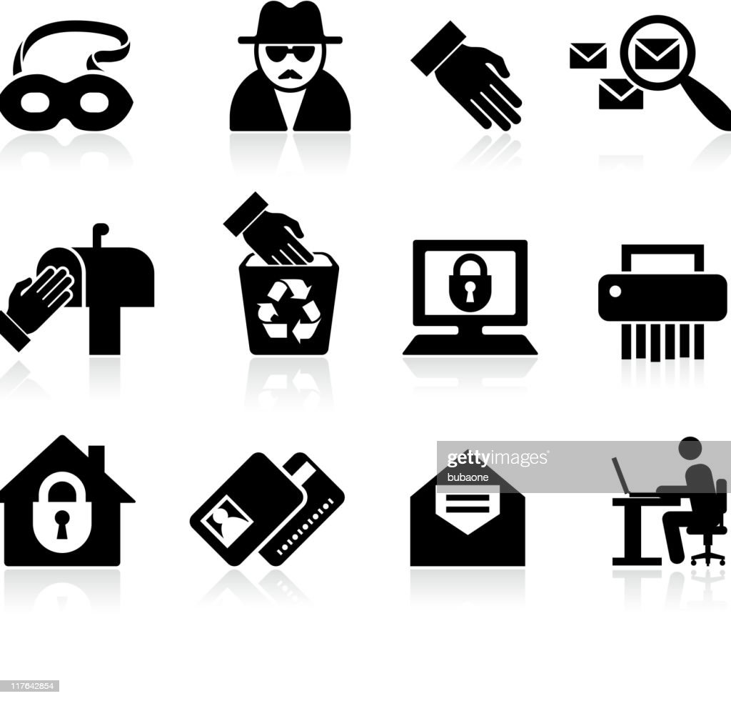 identity fraud black and white royalty free vector icon set