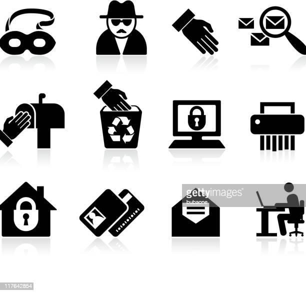 Fraude de identidade preto e branco vector conjunto de ícones royalty free