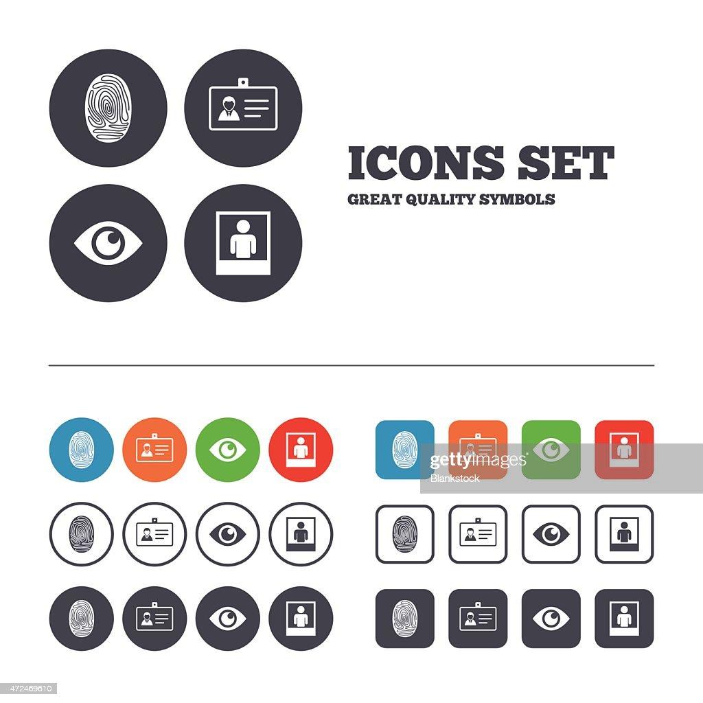 Identity ID card badge icons. Eye symbol