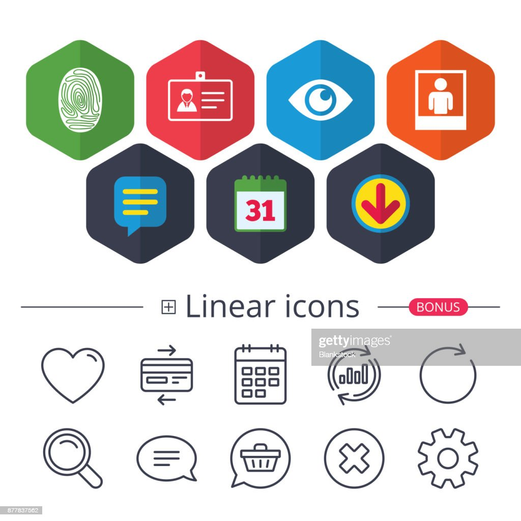 Identity Id Card Badge Icons Eye Symbol Vector Art Getty Images