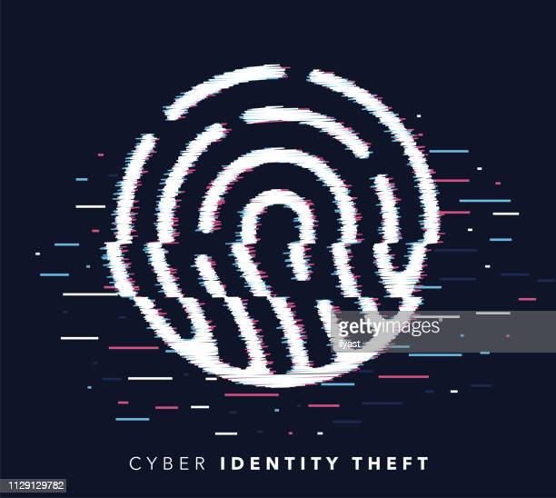 identity theft glitch effect icon illustration - identity theft stock illustrations